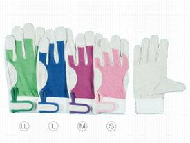 作業革手袋(皮手袋) 豚革手袋 シモン 甲メッシュマジック式 10双組 PL-129 (129豚白)