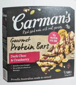 【送料無料】カーマンズ プロテインバー チョコ&クランベリー 40g×5本入 1本あたりタンパク質10g 遺伝子組み換え不使用・保存料不使用・人工香料不使用・グルテンフリー・高タンパク オー