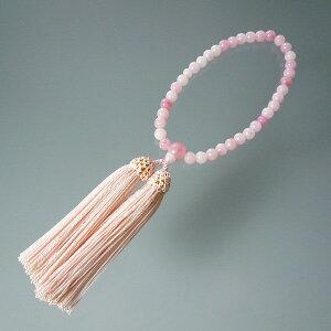 数珠 念珠 お得用数珠 安い数珠 「女性用数珠(ハリ紅水晶)」 片手念珠あす楽対応 略式念珠