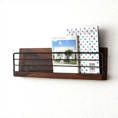 壁掛け 棚 ウォールラック 木製 アイアン ウォールシェルフ マガジンラック 本 雑誌 新聞 CDラック 見せる 収納 ウォールポケット レターラック 飾り棚 ディスプレイ マガジンスタンド アイアンとウッドの壁掛けラック L