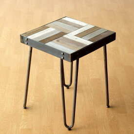 サイドテーブル 木製 アンティーク アイアン シャビー レトロ おしゃれ 四角 正方形 スクエア コンパクト 鉄脚 ベッドサイドテーブル ナイトテーブル ソファサイドテーブル 花台 ウッドワークサイドテーブル