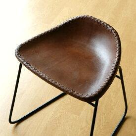 本革スツール デザイン レザースツール 本革椅子 スリム 軽量 アイアン アンティーク リビングチェアー 玄関椅子 いす チェアー イス おしゃれ シンプル スタイリッシュ モダン レトロチェア 本革張り レザーチェア アイアンスツール アイアンと本革のスツールB