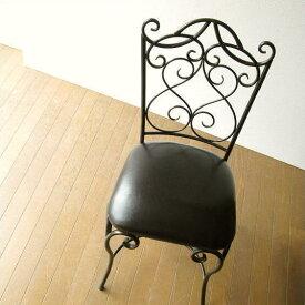クッションチェア レザー アイアン 椅子 合成皮革 1人掛け椅子 1人掛けチェア 1人用椅子 インテリア モダン おしゃれ アンティーク ヨーロピアン クラシック エレガント いす 椅子 デスクチェア ダイニングチェア 一人用チェア 送料無料 アイアンとレザーのイス