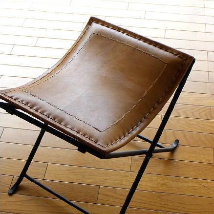 スツール 本革 椅子 アンティーク おしゃれ レザースツール レザーチェア レトロ ブラウン デザイン リビングチェア 一人掛け イス いす ベンチ ビンテージ 家具 インテリア 玄関 腰掛け 鉄脚 カーブ 曲線 横長 四角 スクエア アイアンと本革の折りたたみスツール A