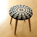 スツール かわいい おしゃれ 刺繍 高さ40cm 低め 木製 チェーンステッチ 可愛い 模様 柄 丸い デザイン いす 丸椅子 …