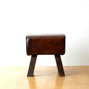 スツール 本革 木製 アンティーク おしゃれ 椅子 革製 ベンチ コンパクト リビング 玄関 インテリア レザーとウッドのスツール