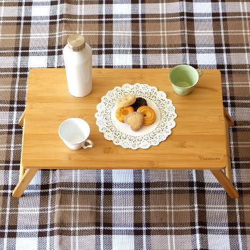 折りたたみテーブル バンブー 竹製 おしゃれ ローテーブル コンパクトテーブル ミニテーブル キャンプ ピクニック アウトドア 折り畳みテーブル フォールディングテーブル ナチュラル シンプル 四角 スクエア 角丸 折り畳みバンブーテーブル S