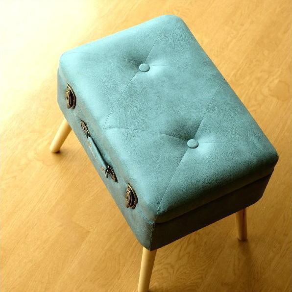 スツール 収納 ボックス トランク型 レトロ アンティーク おしゃれ かわいい デザイン BOX インテリア 椅子 四角 スクエア コンパクト トランク スツールB