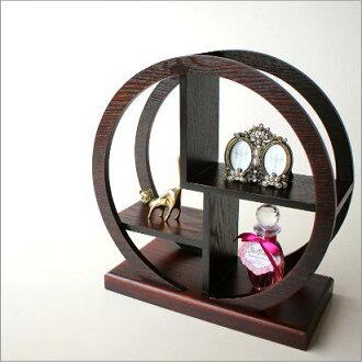 摩擦木制陈列架和睦家具日式室内装饰日元小型架子漆器框小的和睦的陈列架圆(小)