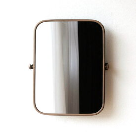 鏡 壁掛けミラー ウォールミラー おしゃれ アンティーク モダン シンプル アイアン レトロ 玄関 インテリア 可動式 メタルのスイングウォールミラー