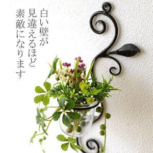 花瓶 壁掛け ガラス 一輪挿し 花器 おしゃれ ガラスベース カップ アイアン シンプル かわいい 壁飾り インテリア 壁掛けフラワーベース・ミニ