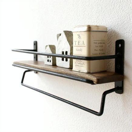 タオルハンガー タオル掛け 壁掛け 小物入れ 雑貨 アイアン キッチン ツールラック スパイスラック シンプル ディスプレイシェルフ ミニ棚 キッチンミニシェルフ