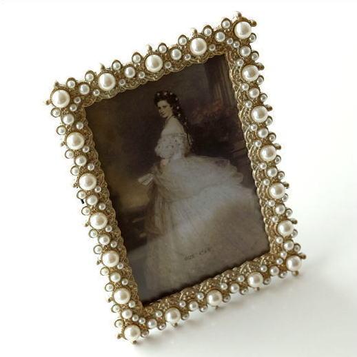 フォトフレーム 写真立て エレガント アンティーク かわいい 可愛い ウェディング 結婚祝い クラシックなフォトフレーム パール