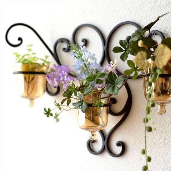 花瓶 花びん おしゃれ ガラス アイアン 壁掛けフラワーベース ブラウン3カップ