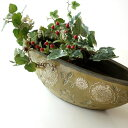 フラワーベース 花瓶 陶器 花器 おしゃれ アンティーク 花瓶 横長 口が広い フラワーベース 花入れ 花びん フラワーア…