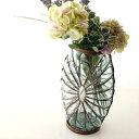 フラワーベース ガラス アイアン 花瓶 おしゃれ 花器 デザイン 手作り メタルグラスベース ペタル