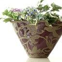 フラワーベース 花瓶 陶器 花器 おしゃれ アンティーク 花瓶 横長 口が広い 大きい フラワーベース 花入れ 花びん フ…
