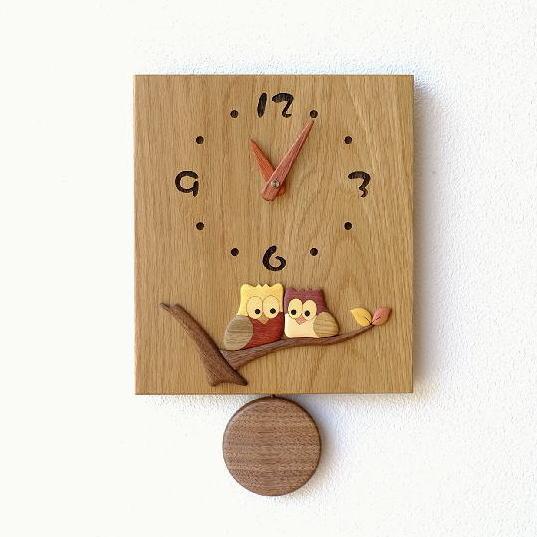 振り子時計 壁掛け おしゃれ 木製 日本製 手作り 天然木 無垢材 ふくろう かわいい インテリア 和風 ナチュラル 木の振り子時計 スクエア