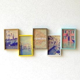 フォトフレーム 壁掛け おしゃれ 写真立て 木製 複数 多面 5枚 5面 5窓 横長 ファミリー シンプル モダン 北欧 デザイン フォトスタンド カラフル 5連コラージュフレーム