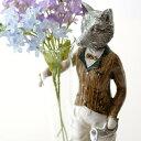 キツネ 置物 一輪挿し 花器 ガラス 花瓶 インテリア オブジェ きつね 狐 おしゃれ ガラスベース Fox knight チューブベース
