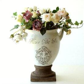 フラワーベース 陶器 花瓶 フレンチ ナチュラル おしゃれ 北欧 レトロ かわいい 花器 ベース 焼き物 花束 造花 グリーン 白 洋風 デザイン クラシック アンティーク エレガント 丸 ラウンド シャビー ペイント 雑貨 オブジェ 玄関 インテリア 陶器のベース フルール