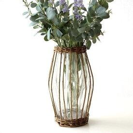 フラワーベース ガラス 花瓶 おしゃれ 柳 蔓 自然素材 ナチュラル 花器 シンプル スタイリッシュ デザイン VASE ガラスベース 丸型 丸い 和風 洋風 インテリア ウィローとガラスのベース A