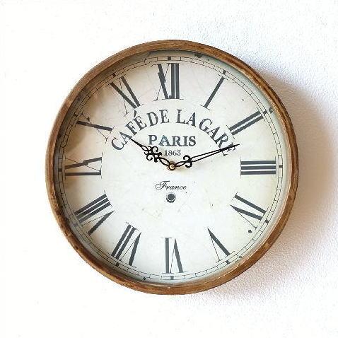 壁掛け時計 壁掛時計 掛け時計 掛時計 おしゃれ 木製 木 シンプル ナチュラル カフェ ウォールクロック 壁掛け 時計 北欧 ウッド インテリア リビング キッチン 玄関 かわいい アンティーク レトロ ブラウン 茶色 丸 ラウンド アナログ ラガールクロック