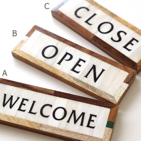 看板 サインプレート 壁掛け WELCOME OPEN CLOSE ウェルカム オープン クローズ おしゃれ カフェ アンティーク モダン ウォール ボーンサインプレート3タイプ