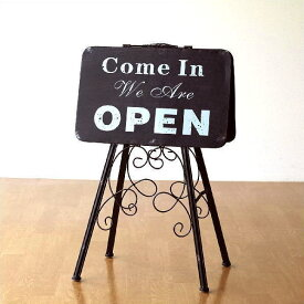 看板 サインプレート オープン クローズ oepn close カフェ アンティーク レトロ おしゃれ アイアン 折りたたみ オープン&クローズスタンド