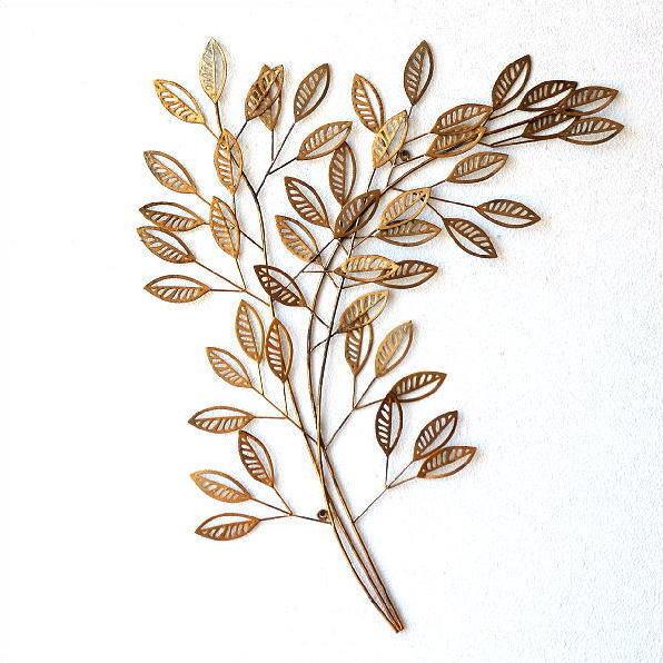 壁飾り アイアン おしゃれ 壁掛け インテリア 植物 グリーン ウォールアート ウォールデコ 壁面 装飾 飾り ウォールディスプレイ アンティークなゴールドリーフブランチ