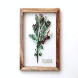 アートフレーム ナチュラル おしゃれ アートパネル モダン インテリア 壁飾り 植物 グリーン ガラス 木製 木枠 ウォールデコ フラワープリントのガラスフレームA