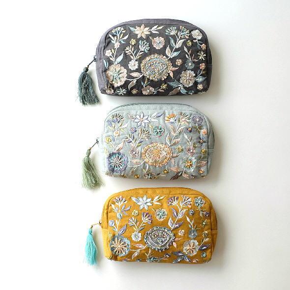 ポーチ 小物入れ かわいい デザイン タッセル おしゃれ 財布 携帯 スマホ アクセサリーポーチ 化粧ポーチ バッグインバッグ ビーズ刺繍ポーチB 3カラー