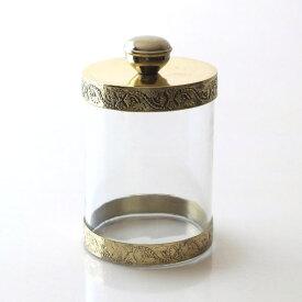 キャニスター ガラス おしゃれ アンティーク 小物入れ ふた付き クリア ゴールド ガラスキャニスター ストレート