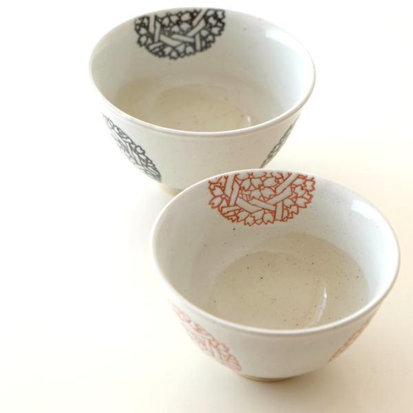 夫婦茶碗 ご飯茶碗 セット 焼き物 有田焼 陶器 日本製 シンプル おしゃれ 和食器 花てまり 大・小2個セット
