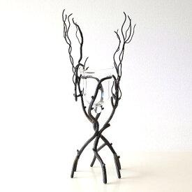 花瓶 おしゃれ アイアン ガラス フラワーベース 木 枝 デザイン リアル ナチュラル インテリア ディスプレイ 花器 キャンドルホルダー アイアンブランチベーススタンド