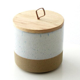 保存容器 陶器 ストッカー キャニスター おしゃれ ナチュラル 瓶 ケース 木製 ふた付き 小物入れ 木の蓋付ストーンジャーM