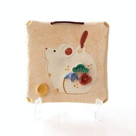 干支 ねずみ 置物 子 お正月 おしゃれ かわいい 陶器 瀬戸焼 日本製 インテリア オブジェ 壁掛け 縁起物 松竹梅 福 床の間 玄関 小物 干支陶額 子
