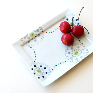 お皿 プレート おしゃれ 可愛い 白 四角 長方形 陶器 有田焼 日本製 ペイントプレート長角トレー S