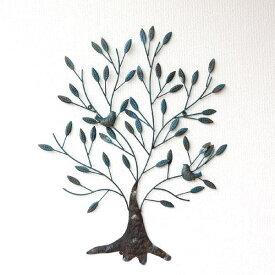 アイアン壁飾り アートパネル 壁掛け インテリア 木 リーフ ウォールデコレーション ウォールアート シック モダン アンティーク風 おしゃれ 小鳥 壁掛けパネル アイアンの壁飾り 2バードツリー