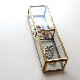 小物入れ ふた付き アクセサリーケース ボックス おしゃれ ガラス アンティーク シンプル 卓上 仕切り ブラスレクタングルBOX