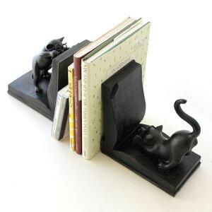 本立て ブックエンド 猫 ネコ ブックスタンド ねこ おしゃれ アンティーク風雑貨 卓上 インテリア 猫雑貨 ブックスタンド 猫置物 CDスタンド 猫 ブックスタンド かわいい 本立て 卓上 オブジ