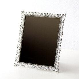 鏡 壁掛けミラー 卓上ミラー 四角 ビジュー エレガント 可愛い かわいい キラキラミラー スクエア