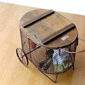 カート アンティーク レトロ ガーデニング 収納 シャビー 木製 かご バスケット アイアン フラワーラック ガーデンツールボックスカート