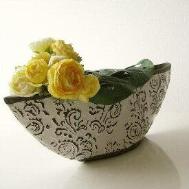 フラワーベース 花瓶 陶器 花器 おしゃれ アンティーク 花瓶 横長 口が広い 大きい フラワーベース 花入れ 花びん フラワーアレンジ 洋風 モダン かわいい デザイン 花瓶 インテリア フラワーベース クラシックベース C