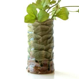 花器 陶器 おしゃれ 花瓶 フラワーベース 和風 玄関 瀬戸焼 灰釉円柱花入れ