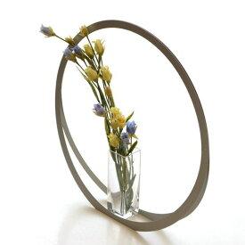 フラワーベース 花瓶 おしゃれ モダン ガラス 花器 シンプル モダン スタイリッシュ 玄関 インテリア アルミとガラスのベース UT