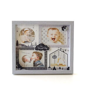 フォトフレーム ベビー 赤ちゃん 壁掛け 卓上 写真立て かわいい 可愛い おしゃれ 北欧 複数枚 4枚 4窓 出産祝い ギフト プレゼント 贈り物 ベビー4窓フレーム モノトーン