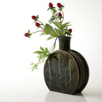 224 & Vases pottery flower vase jiki flower bud vase vase flower ornament Japanese gadgets Japanese accessory jiki dark vase vase Japanese modern flower ...