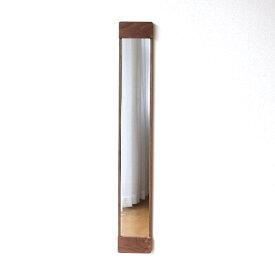 鏡 壁掛けミラー スリム おしゃれ ウォールナット 木製 ウッド 天然木 ウォールミラー 木枠 シンプル モダン ナチュラル スタイリッシュ 薄い 薄型 デザイン コンパクト 玄関 四角 長方形 縦長 壁掛スリムミラーL