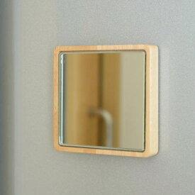 マグネット ウォールミラー 鏡 壁掛けミラー 壁付け 磁石 木製 天然木 おしゃれ 小さい コンパクトミラー シンプル 省スペース 玄関ドア 冷蔵庫 スクエア 四角 マグネット・ミニミラー
